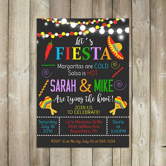 Engagement Announcements You Can Drop in the Mail | If your engagement party has a theme, why not carry it into your invites? These fiesta invites not only show a couple's personality but also give the guest a little insight into what the party will be like.