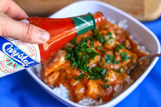 Yummm, Shrimp Etouffee anyone? Only one thing wrong with this picture. If you are from Louisiana, the home of great cajun cooking, you are probably like me . . . asking what is Crystal. Everybody knows its only Tabasco here in the deep south!!!   :)