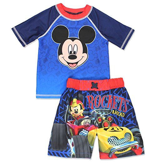 187c5e87ca Mickey Mouse and The Roadster Racers Toddler Boys Swim Trunks and Rash  Guard Set (Navy Blue)