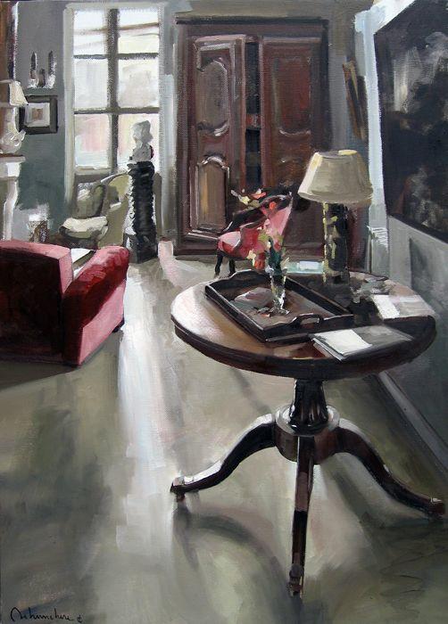 ◇ Artful Interiors ◇ paintings of beautiful rooms - Huile sur toile .. Oil on canvas De Christoff Debusschère