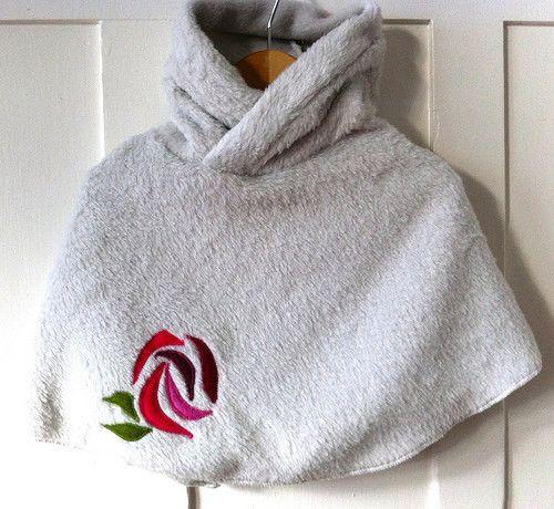 White Minky Rose Poncho