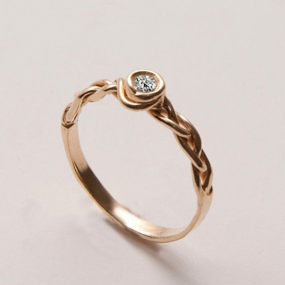 Braided Engagement Ring - 14K Gold and Diamond engagement ring, celtic ring, engagement ring, wedding band