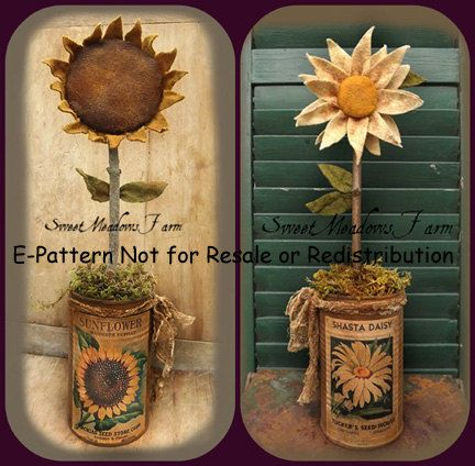 E-pattern Primitive Can Flowers Daisy and by SweetMeadowsFarm