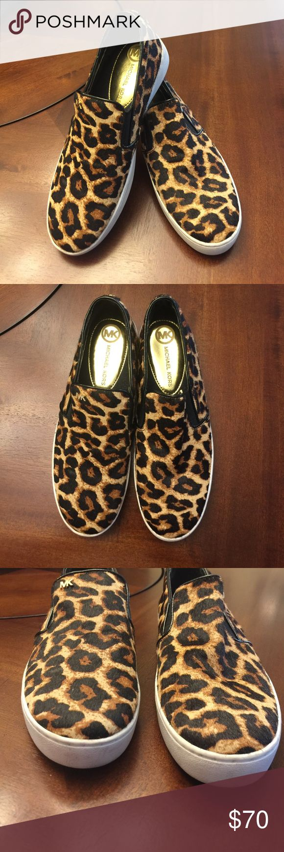 Slip on Tennis shoes Michael kors slip on leopard print shoes. Excellent condition. Michael Kors Shoes Flats & Loafers