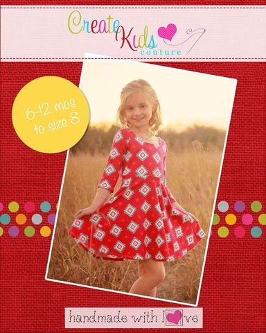 Step into something fun and comfy with Kimber's Circle Dress!  With baby doll and skater dress options, it's like getting two dress pattern in one!  With two bodice options, two neckline versions (curved and v-neck), two sleeve lengths, PLUS circle sleeve add-ons, you can customize it to your own style!  Quick and easy, Kimber's is the perfect addition to your pattern collection!  This pattern is designed for use with knit fabrics.