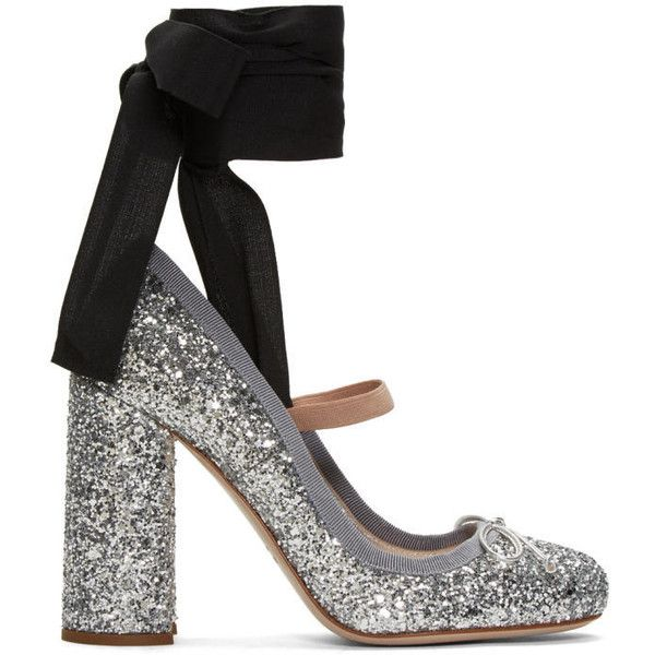 Miu Miu Silver Glitter Ballerina Heels (15 500 UAH) ❤ liked on Polyvore featuring shoes, flats, silver, ballet shoes, strappy ballet flats, ballet flats, strappy flats and round toe flats