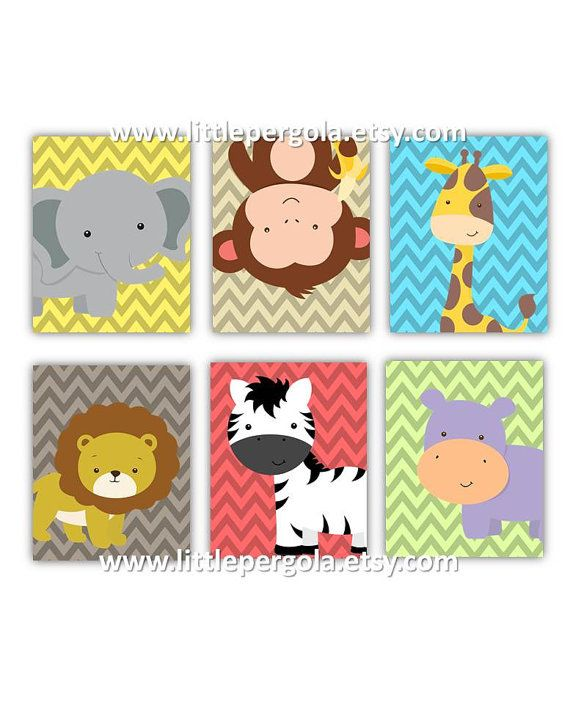 Kids Art Prints Cute Safari Nursery Art Prints by LittlePergola, $84.00