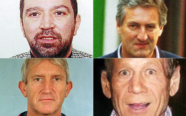 (Clockwise from top left) Brink's-Mat accomplices Solly Nahome, Brian Perry and George Francis and Kenneth Noye