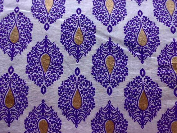 Beautiful Purpkle Gold Flowers Printed Indian Fabric White Cotton By RaajMa