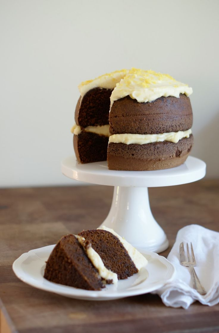 sticky gingerbread cake with lemon mascarpone frosting