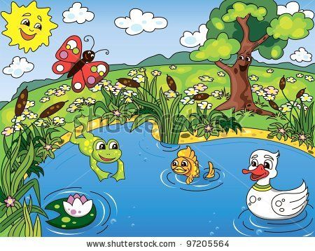 Cartoon kid's illustration of the pond life with a frog, fish, duck, butterfly and lotus - stock vector