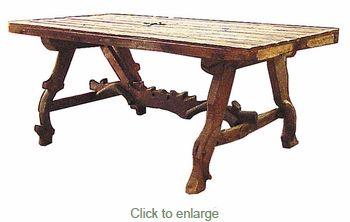 Ox Yoke Rustic Wood Dining Table
