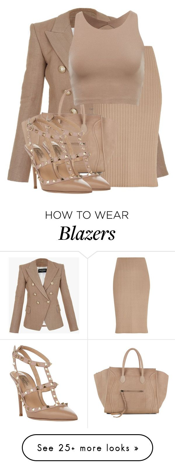 """Untitled #3171"" by xirix on Polyvore featuring Balmain, River Island, CÉLINE and Valentino"