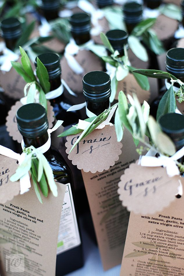olive oil favors...cute idea for a wine and cheese party or olive oil tasting party!