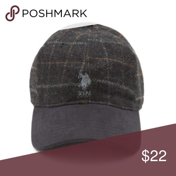 USPS Men's Plaid Suede Cap NWT Embroidered logo on front, embroidered US Polo Association detail on back, metal and vegan leather adjuster on the back, wool cap and vegan suede brim, contrast top brim. NWT. US Polo Association Accessories Hats