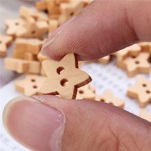 100pcs/set Star Wooden Buttons 2 Holes Craft for Scrapbook Sewing Cardmaking Clothing Boutique Decor DIY Accessory Supply 13mm(China (Mainland))