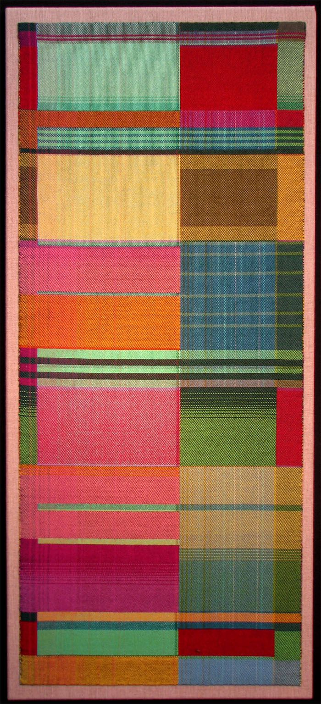 Gretchen Romey-Tanzer | Garden | double weave | mercerized cotton | 36″ x 16″ | Orleans, Massachusetts, U.S.A. | c. 2011>Note influence of Bauhaus weavers.