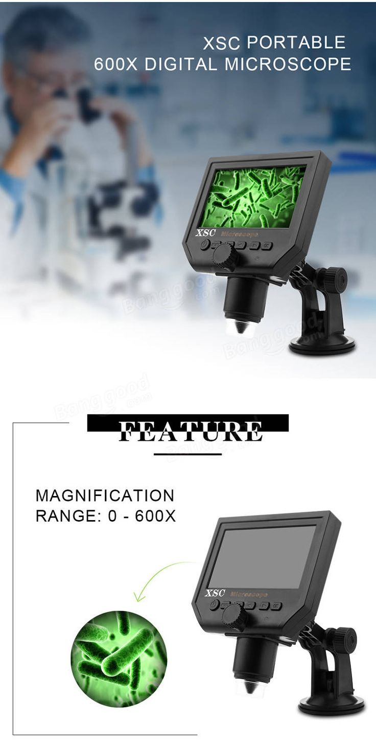 Mustool® G600 Digital Portable 1-600X 3.6MP Microscope Continuous Magnifier with 4.3inch HD LCD Display