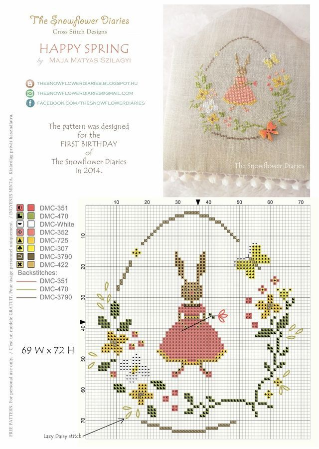 Good evening, The Snowflower Diaries is officially one-year-old and as I have promised you I am going to celebrate it with a new spring design that you are welcome to download and stitch if you like!:
