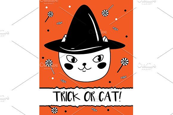 Cat Halloween card by Bunny's Little Shop on @creativemarket