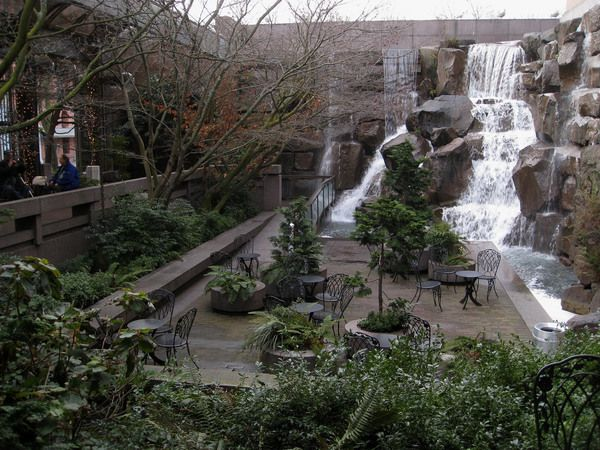 This secluded, man-made waterfall marks the birthplace of the United Parcel Service