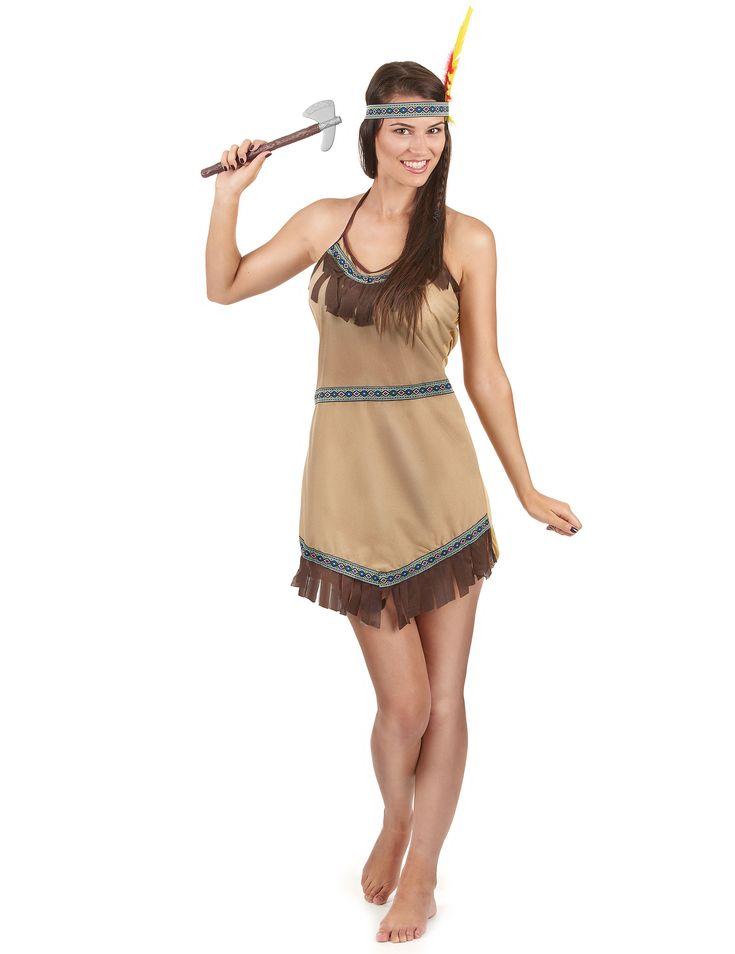 Déguisement indienne femme : Ce déguisement d'indienne pour femme se compose d'une robe et d'une coiffe. (Hâche non incluse)La robe à franges est marron et possède des liserés...
