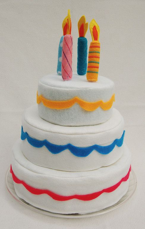"Tutorial for this wonderful felt cake.  Decorate however you want.  Underneath the felt ""frosting"" are individual cake ""slices""."