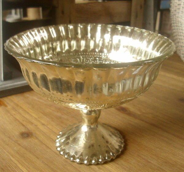 Deko Schale Glasschale Silber Silberfarben Glas Antik Stil Dekoschale Neu