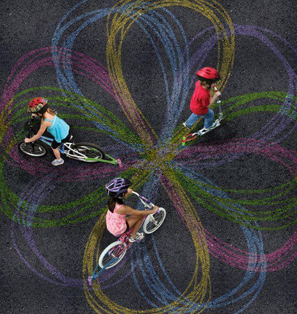 Chalktrail - toys for bike and scooter by Scott Baumann: Ideas, Chalktrail Bike, For Kids, Stuff, Scooters, Fun, Bicycle, Chalk Trail, Chalk Art