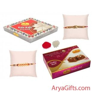 Send online rakhi and gifts to India. The best rakhi wishes to your dearest brother and show how much you will miss them on this Raksha Bandhan..This set contains 3 Fancy Bead and Pearl Rakhi with Dodha Burfi 400 gm and Kaju Katli 500 gm. We also offer free kumkum and chawal for tilak. Rakhi design may differ as per the stock available. send this gift online for free shipping.