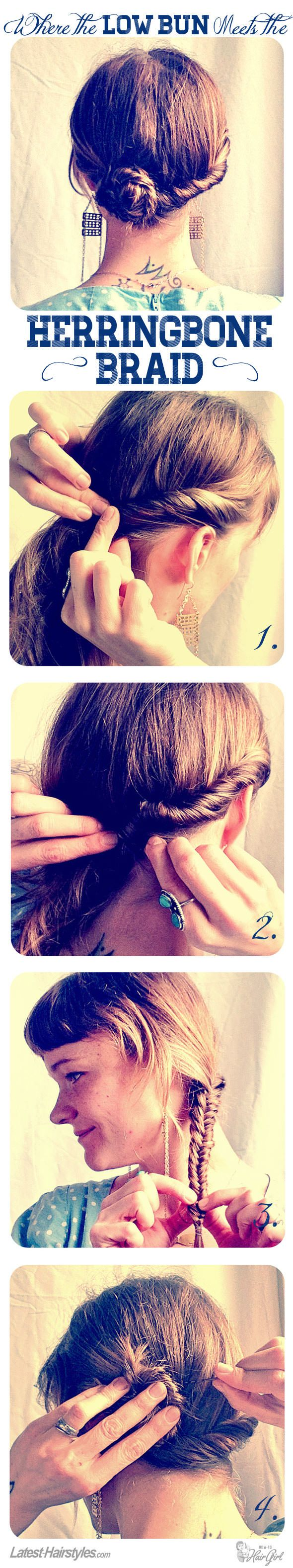 Where the low bun meets the herringbone braid...LOVE! Full tutorial with tips here:  http://www.latest-hairstyles.com/tutorials/low-bun-herringbone-braid.html