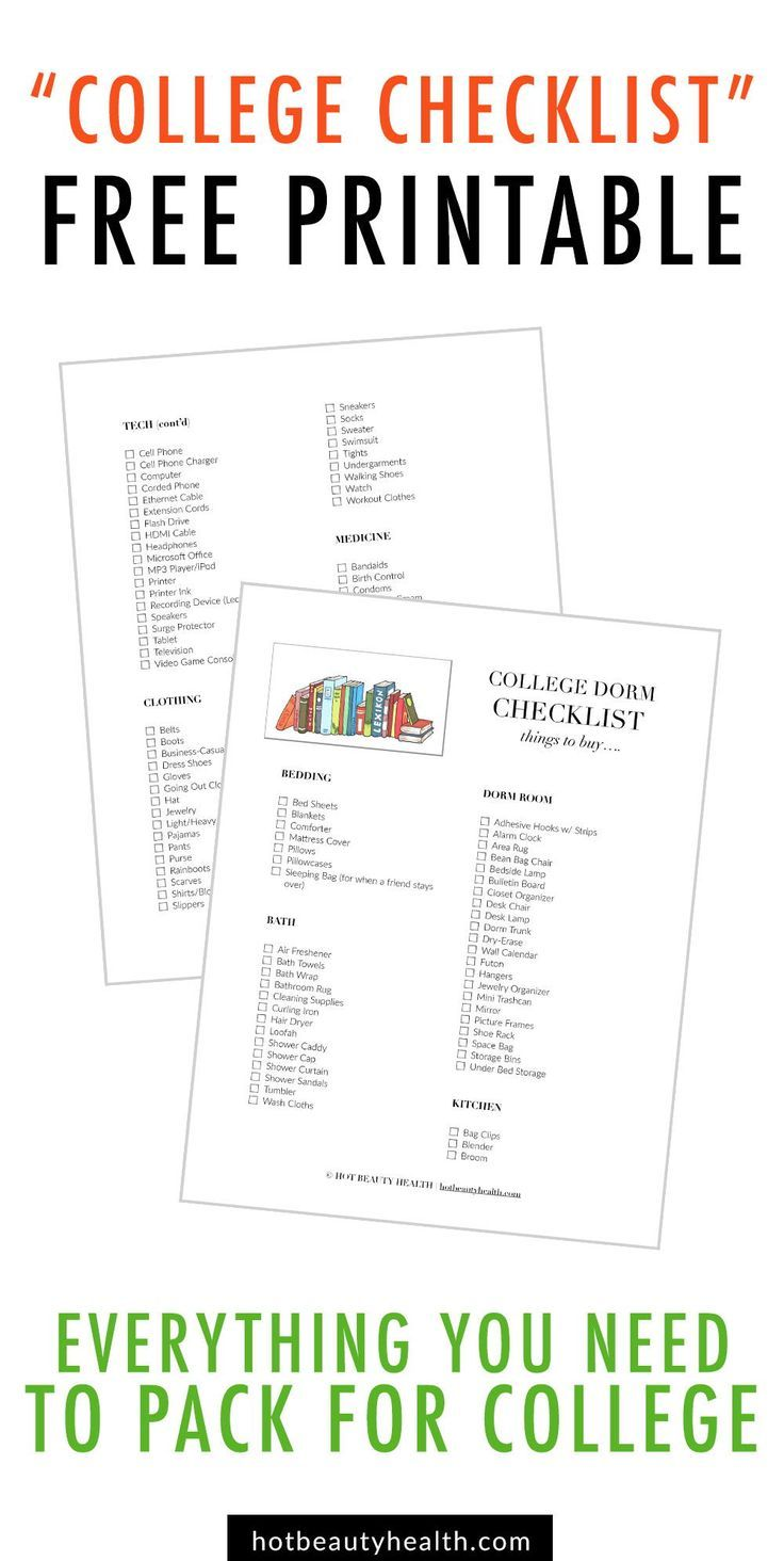 Know What To Pack For College Download My Free College Dorm Room Essentials Checklist Printable A Huge L College Checklist Dorm Room Checklist Dorm Checklist