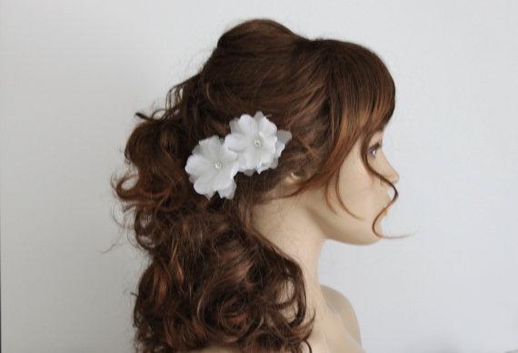 Bridal Hair Flower-Flower Hair Pins-Rhinestone Hair Pins-White Flower Hairpins-no.f035. $36.00, via Etsy.