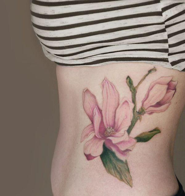 Magnolias tattoo on side - 50+ Magnolia Flower Tattoos  <3 <3