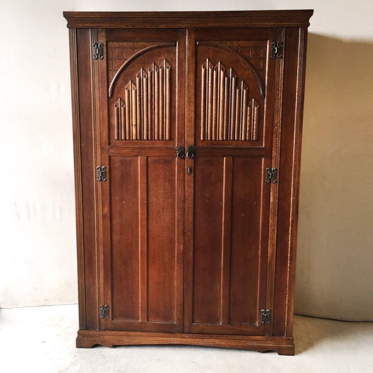Antique Art Deco Solid Oak Wardrobe $485