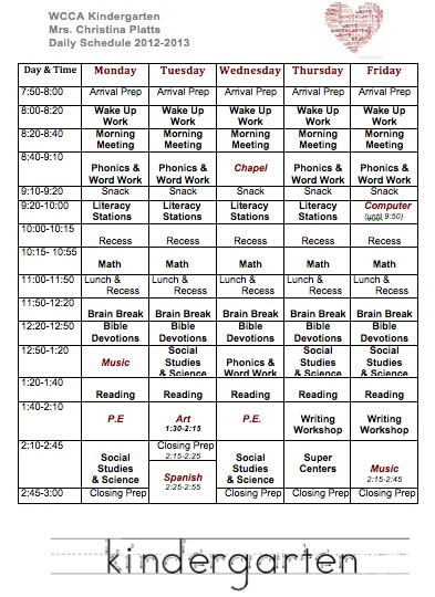Read Write Sing: My Kindergarten Schedule :: interesting to see what others have planned in their schedules