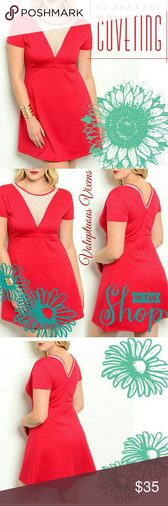 COMING SOON! Plus Size Retro Style Red Mini Dress Absolutely darling retro style dress with mesh v neckline. Puts me in mind of a diner uniform from the 70's! More information to come! Measurements: coming soon! Thanks for looking and Happy Poshing! Lynnette Dresses Mini
