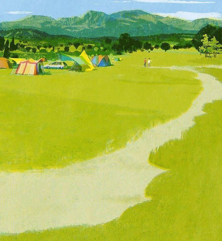 久住高原 #illustration #tatsurokiuchi #illustrator #japan #kyushu #camp #art #イラスト…
