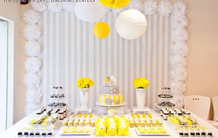 Chá de fraldas amarelo e cinza Baby shower grey and yellow