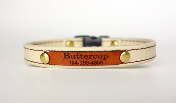 Personalized Leather Cat Collar with Leather ID Tag and Saftey