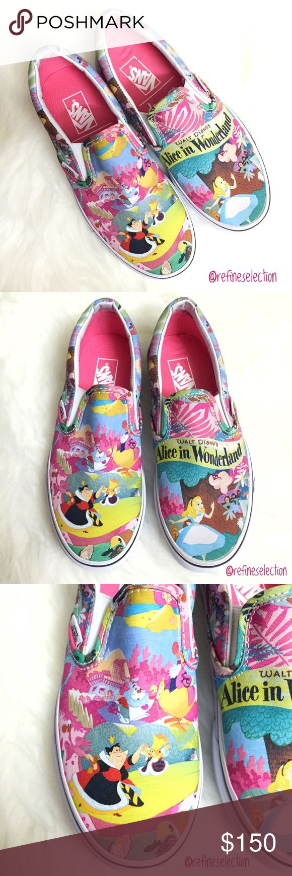 Disney Alice in Wonderland Slip On Sneakers Brand new in box, women's size 6. These Disney Alice in Wonderland Slip Ons are a must have for any Disney fan! A limited edition collaboration between Disney and Vans, this has been long sold out, this is your chance to own it here! There is so much detail all over! There is a light scuff mark on the bottom of the sole and on the front of the left shoe (as shown in the last pictures). The colors are also not as vibrant as shown in the pictures…