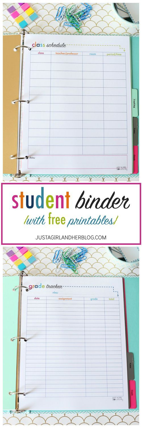 Super cute binder with tons of free printables! There are some that would work for non-students as well! I'm going to be so organized this year! | http://JustAGirlAndHerBlog.com