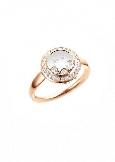 Chopard Bague Bague Happy Curves Or rose 18 carats et diamants