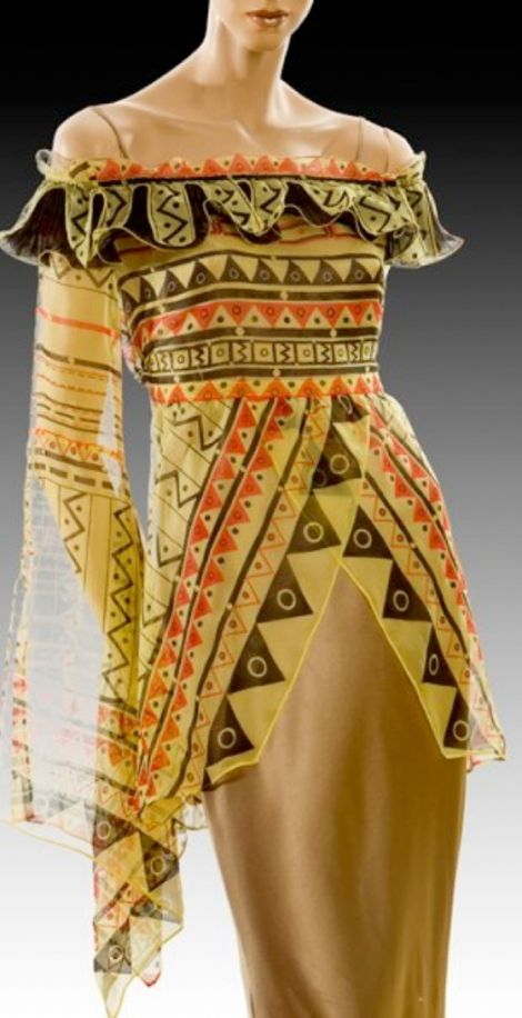 Designer: Zandra Rhodes.I absolutely love the design of the textiles and the shape of the garment. Love, love, love!