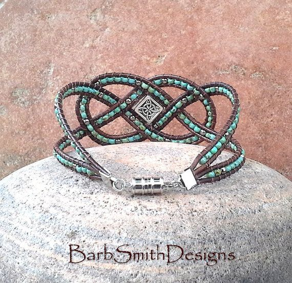 Turquoise Silver Leather Wrap Beaded Bracelet by BarbSmithDesigns