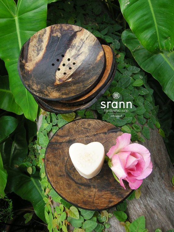 Set of natural soap dishes made from coconut shell by SRANNnatural, $5.00