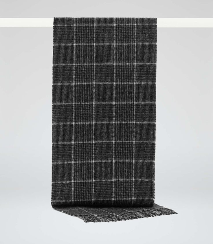 Reiss Grey Wool Check Scarf