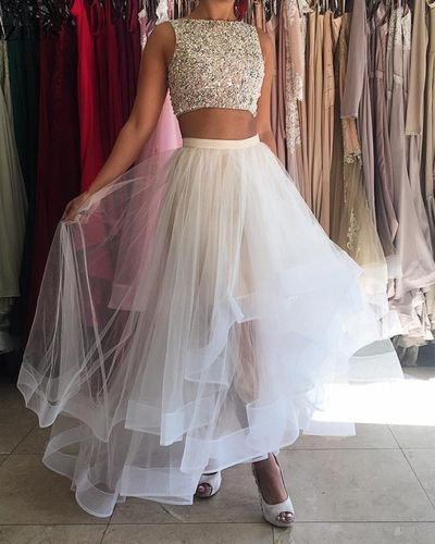 Two Piece Prom Dress,Charming Prom Dresses,Sleeveless 2 Pieces