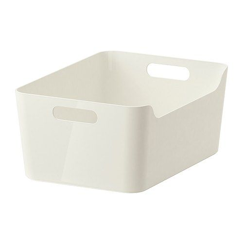 IKEA VARIERA Box White 34x24 cm The box is easy to carry and take in and out of a drawer or shelf since it has two cut-out handles that make it...