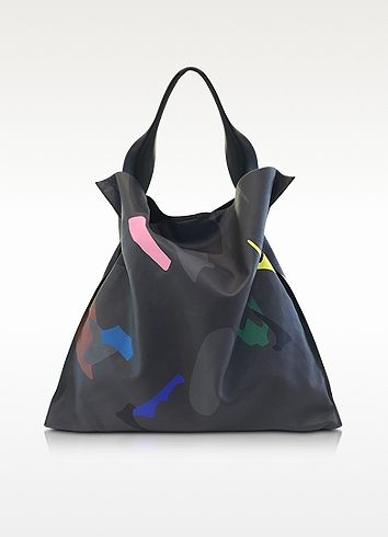 Open Grey Camo Print Leather Medium Xiao Bag - Jil Sander